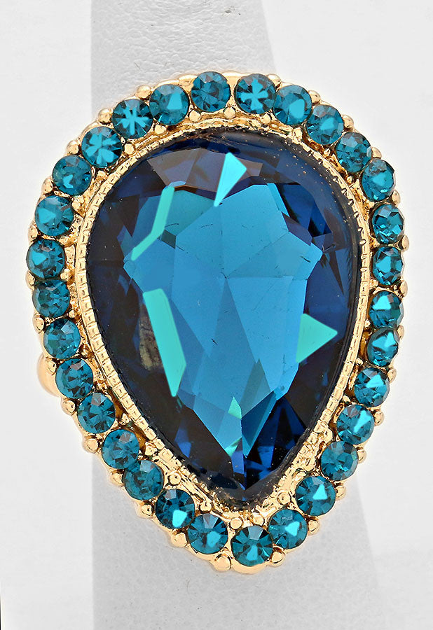 """ Tears Of Joy "" Teardrop Cutout Teal Blue Zircon Crystal Rhinestone Pave Stretch Cocktail Ring On Gold Tone"