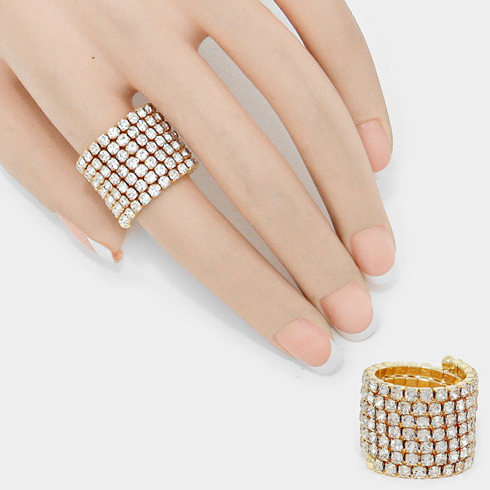 """ Line Em' Up""  7 Line Gold Coil Rhinestone  Stretch Cocktail Ring On GoldTone"