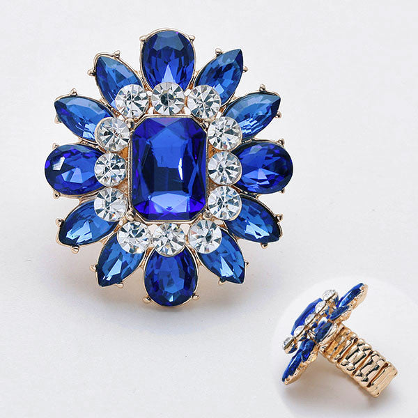 """ Sunflower "" Blue  Crystal Stretch Cocktail Ring On Gold Tone W Rhinestone Accent"