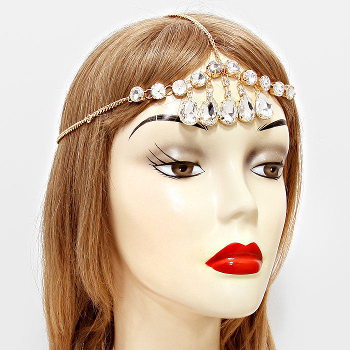 """ Stunner"" Crystal Drop Draped Head Chain Gold Tone"
