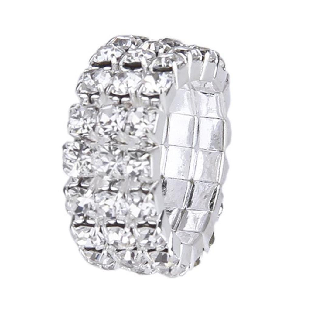 """ Line Em' Up""  3 Line Silver Rhinestone Stretch Cocktail Ring On Silver Tone"