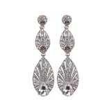 """ Brilliant "" Teardrop Drop AB Iridescent  mixed with Clear Crystal Evening Earrings"
