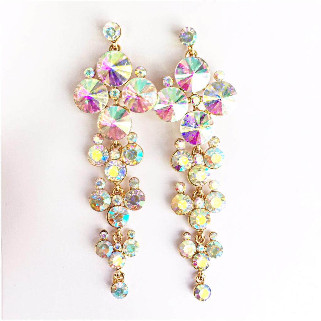 """ Bubbly Time "" AB Iridescent Crystal Earrings on Gold Tone"