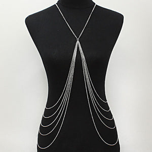 """ Battled "" Silver Long Multi Row Body Chain"