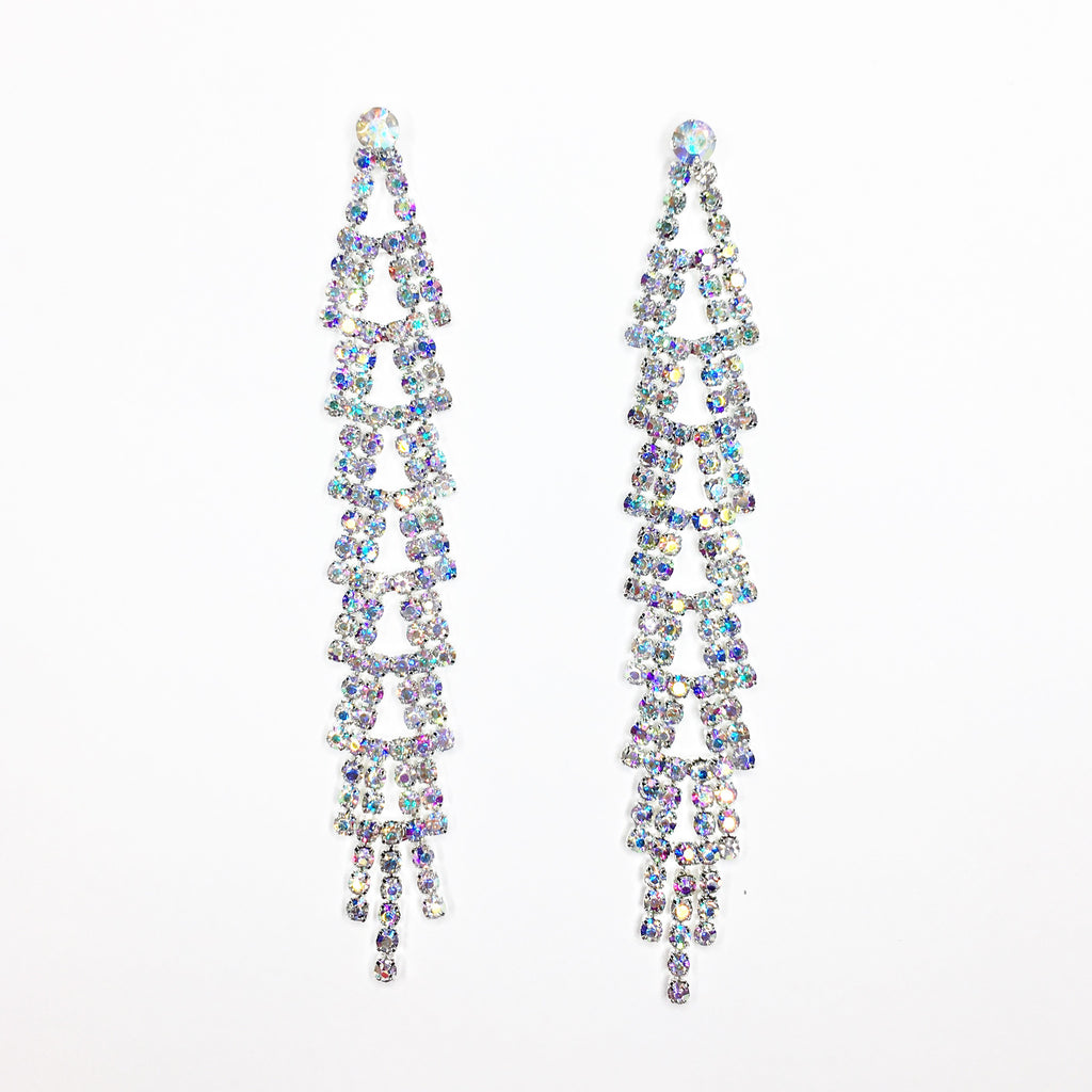 """ Desire "" AB Iridescent Rhinestone Drop Waterfall Earrings on Silver Tone"