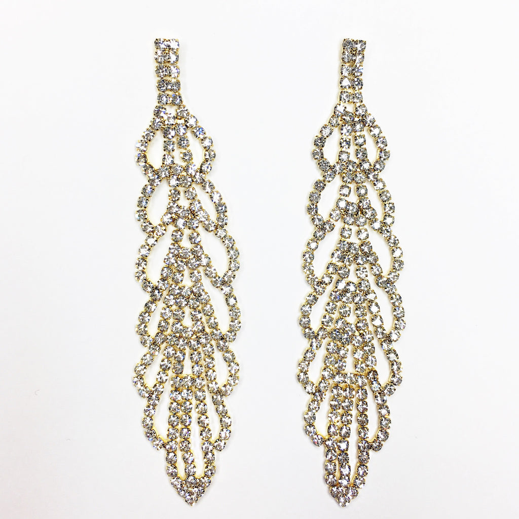 """ Take It All "" Clear Crystal Rhinestone Chandelier Earrings on Gold Tone"