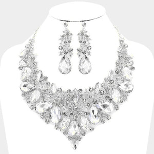 """ Be Mine Too "" Crystal Clear Rhinestone Statement Necklace Combo on Silver Tone"