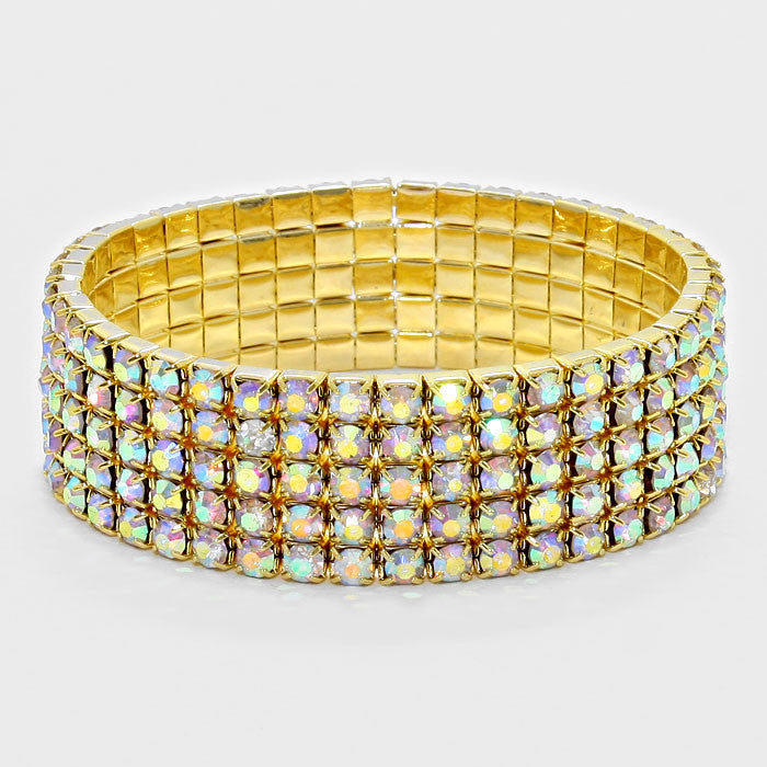 """ Line Em' Up "" 5 Line AB Iridescent Stretch Row Bracelet on Gold Tone"