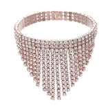 """ Cascade "" Stretch Rhinestone Fringe Bracelet on Gold Tone"