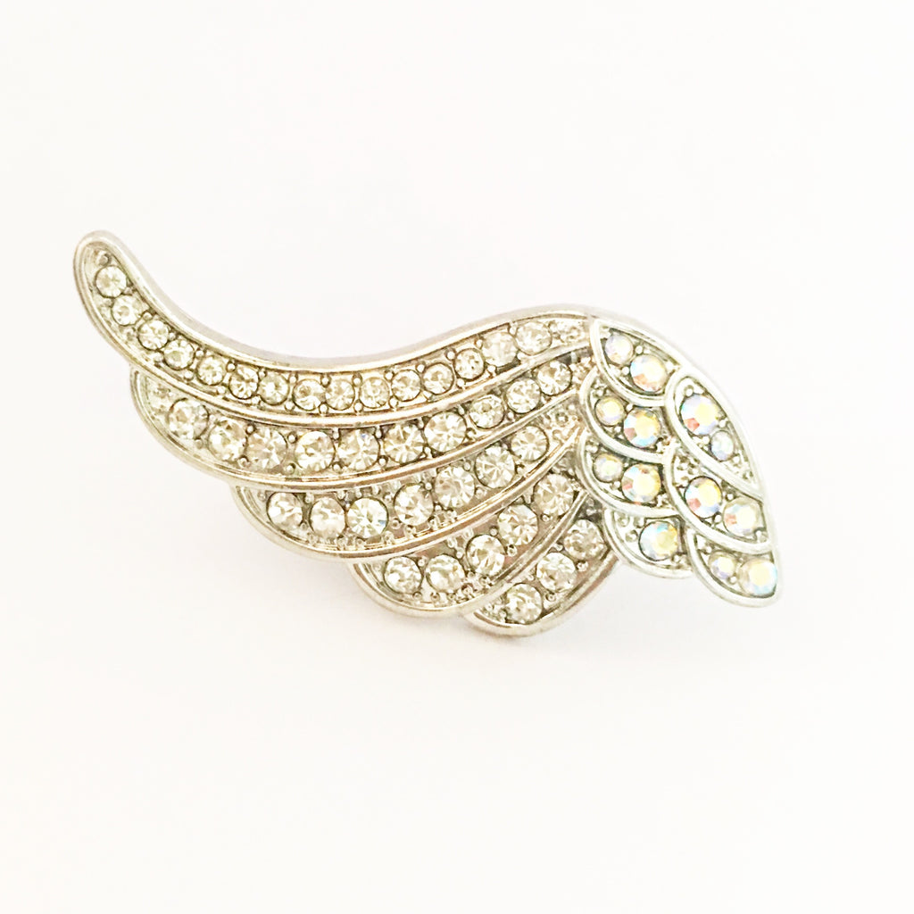 """ Soaring "" Clear/AB Iridescent Wing Shape Stretch Ring on Silver Tone"