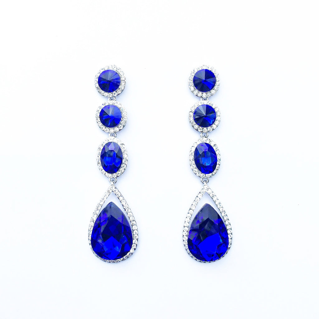 """ Elegant "" Four Drop Sapphire Blue Crystal Earrings on Silver Tone"
