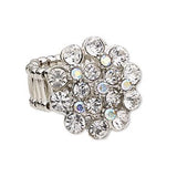 """ Bling It "" AB Iridescent Clear Rhinestone Mix Stretch Ring"