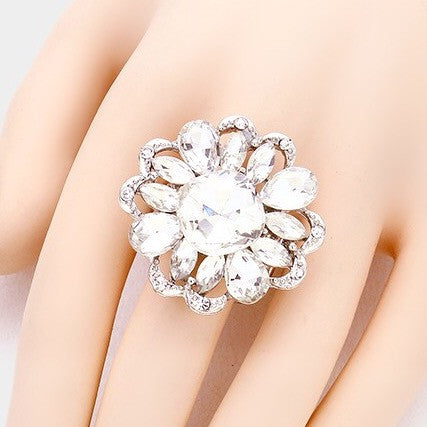 """ Delicate "" Floral Style Clear Crystal Rhinestone Stretch Ring on Silver Tone"
