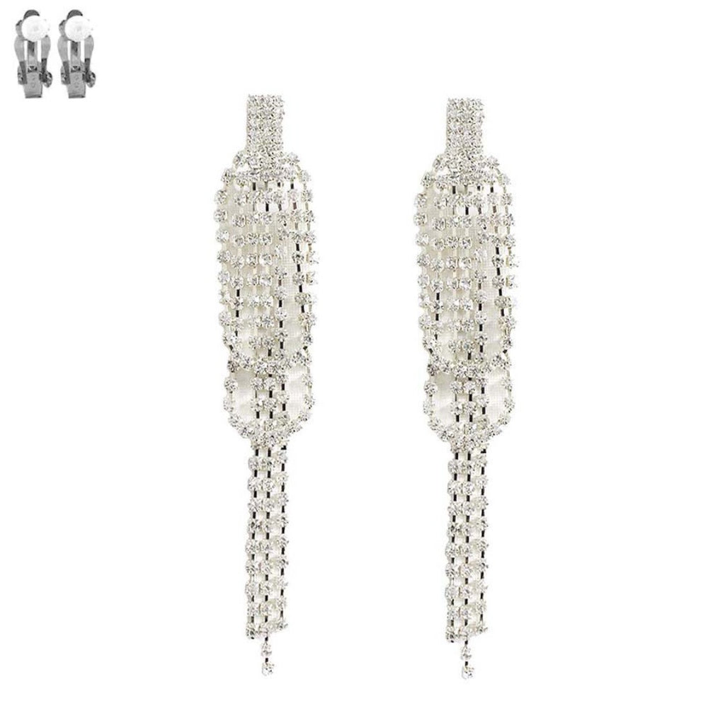 """ Count Down "" Clip On Clear Rhinestone Drop Earrings on Silver Tone"