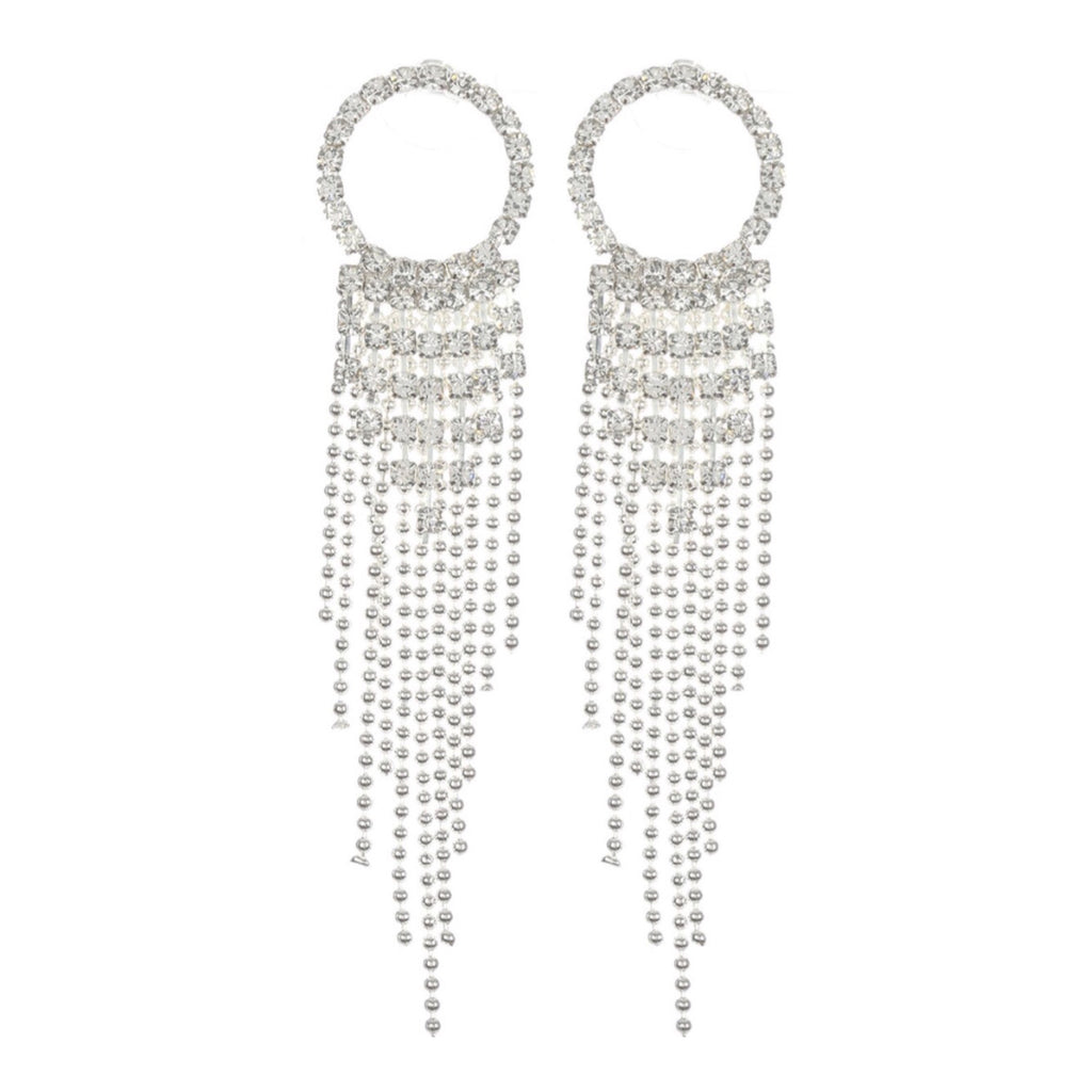 """ Circle Back "" Clear Rhinestone Circle Drop Fringe Bead Earrings on Silver Tone"