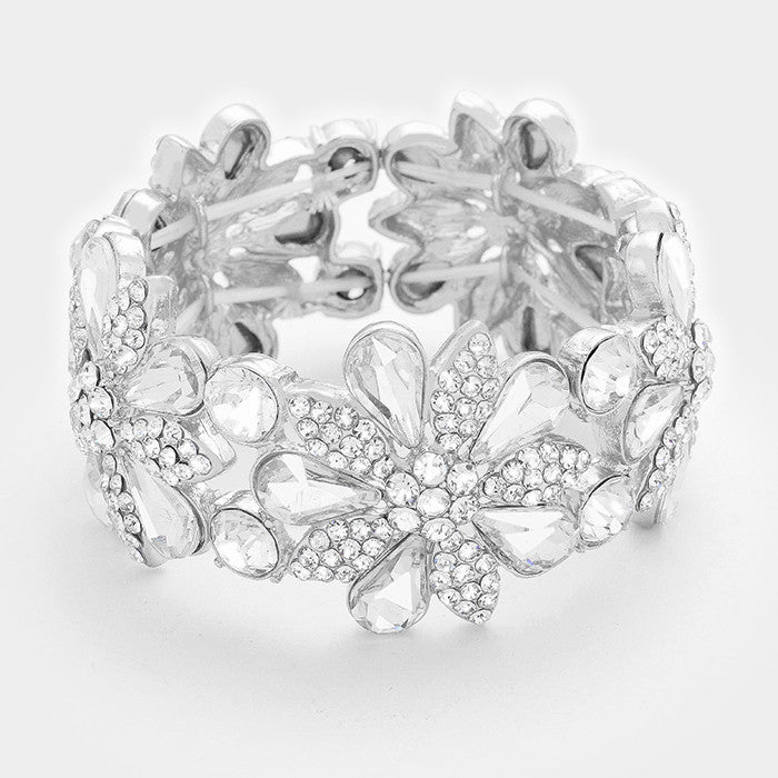 """ Glimmer ""  Beautiful Clear Crystal Floral Daisy Rhinestone Bracelet"