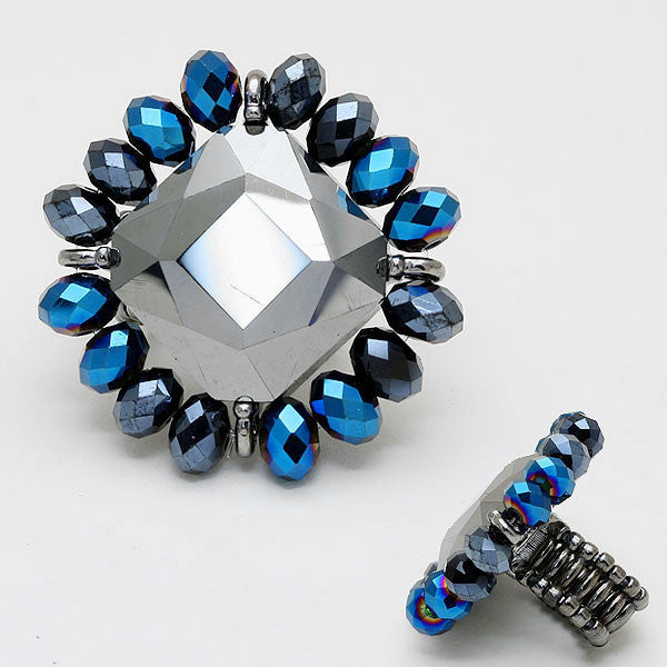 """ Shot Gun "" Gun Metal Blue Toned Stretchable Statement Ring"