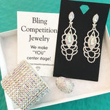 """ Pretty One "" AB Iridescent Rhinestone Earrings on Silver Tone"