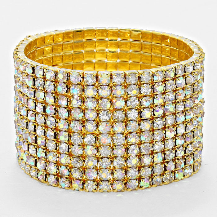 """ Line Em' Up "" 10 Line AB Iridescent Stretch Bracelet Gold Tone"