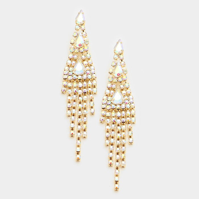 """ Starlight "" AB Iridescent Drop Fringe Earrings on Gold Tone"