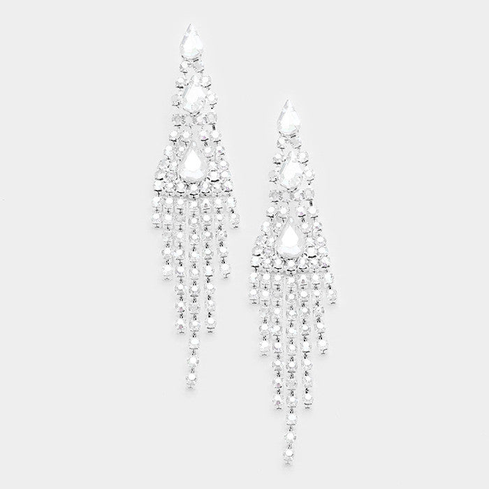 """ Starlight "" Clear Rhinstone Drop Fringe Earrings on Silver Tone"