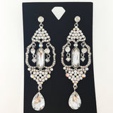 """ Graceful "" Elegant Mixed AB Iridescent Crystal Chandelier Earrings on Silver Tone"