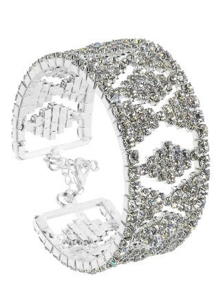 """ Queen Of The Hill ""  Clear Rhinestone Adjustable Cuff Bracelet"