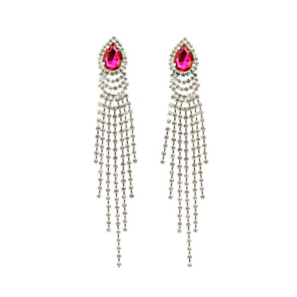 """ Pink Lady "" Pink Teardrop Crystal Rhinestone Earrings on Silver Tone"