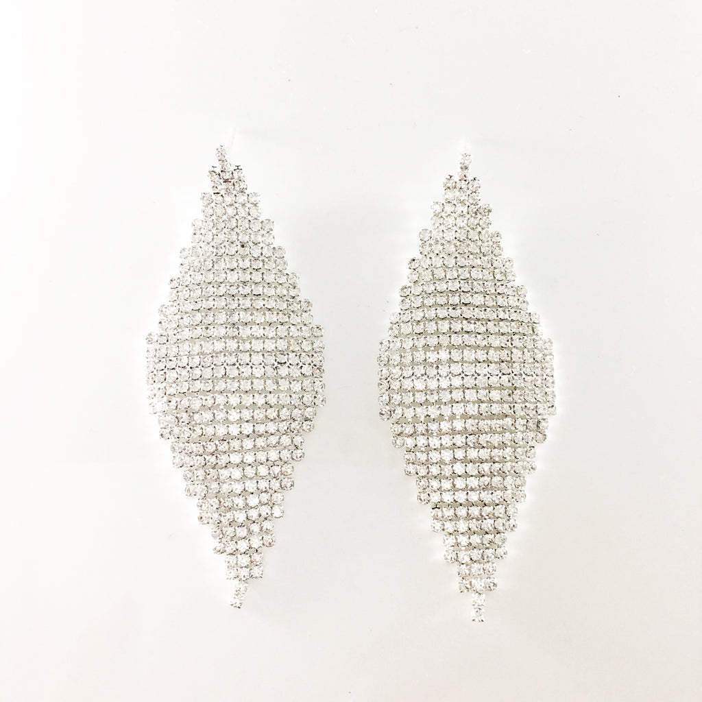 """ Rise "" Pave Clear Rhinestone Drop Earrings on Silver Tone"