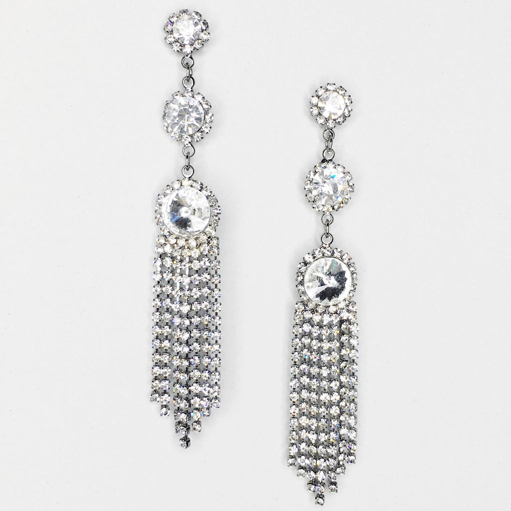 """ Fired Up "" Three Drop Tassle Clear Rhinestone Earrings on Silver Tone"