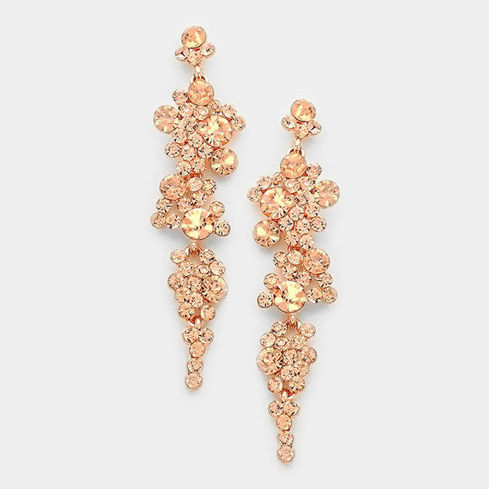 """ Lucky Lady "" Peach Crystal Earrings on Rose Gold Tone"