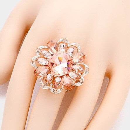 """ Delicate "" Floral Style Peach Crystal Rhinestone Stretch Ring On Rose Gold Tone"