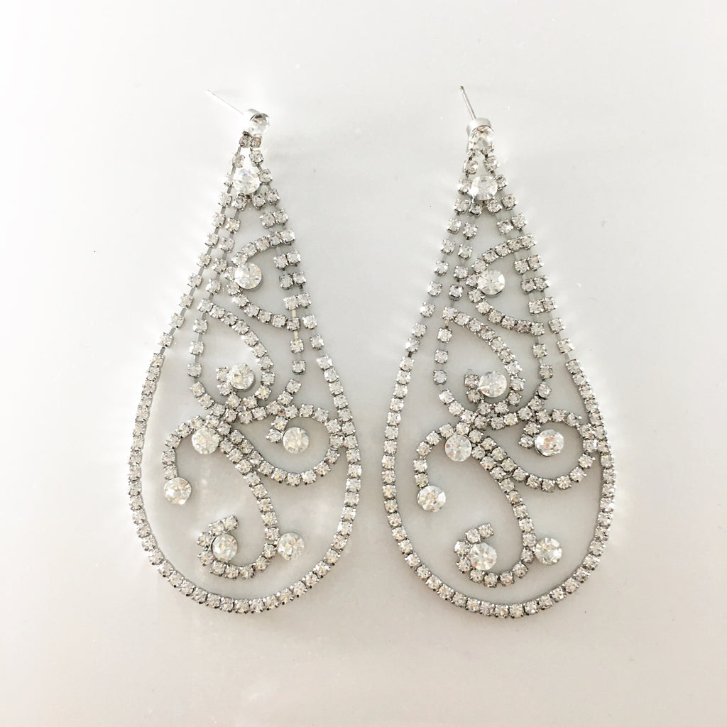 """ Twirl "" Drop Clear Rhinestone Earrings on Silver Tone"