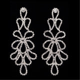 """ Fearless "" Clear Rhinestone Floral/Petal Earrings on Silver Tone"
