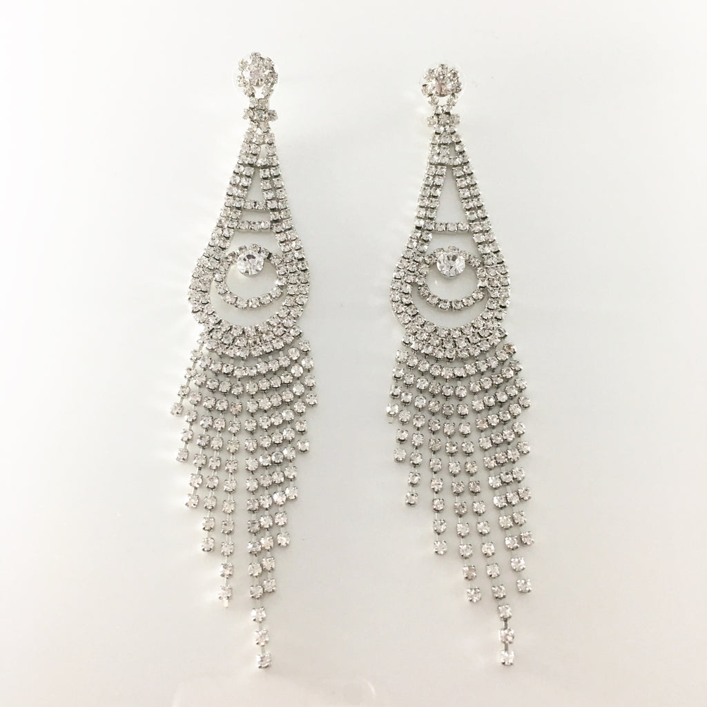 """ Callout "" Long Clear Rhinestone Drop Fringe Earrings on Silver Tone"