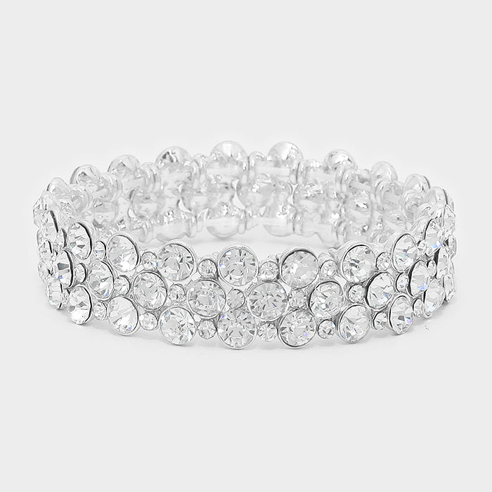""" Bubble Pop "" Clear Crystal stretch Statement Bracelet on Silver Tone"