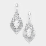 """ Breathless "" Marquise Clear Crystal Rhinestone Earrings on Silver Tone"