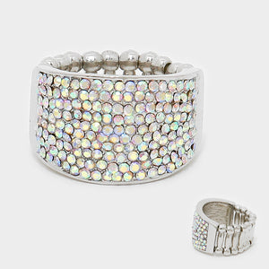 """ Shine On "" AB iridescent Crystal Pave Stretch Ring"