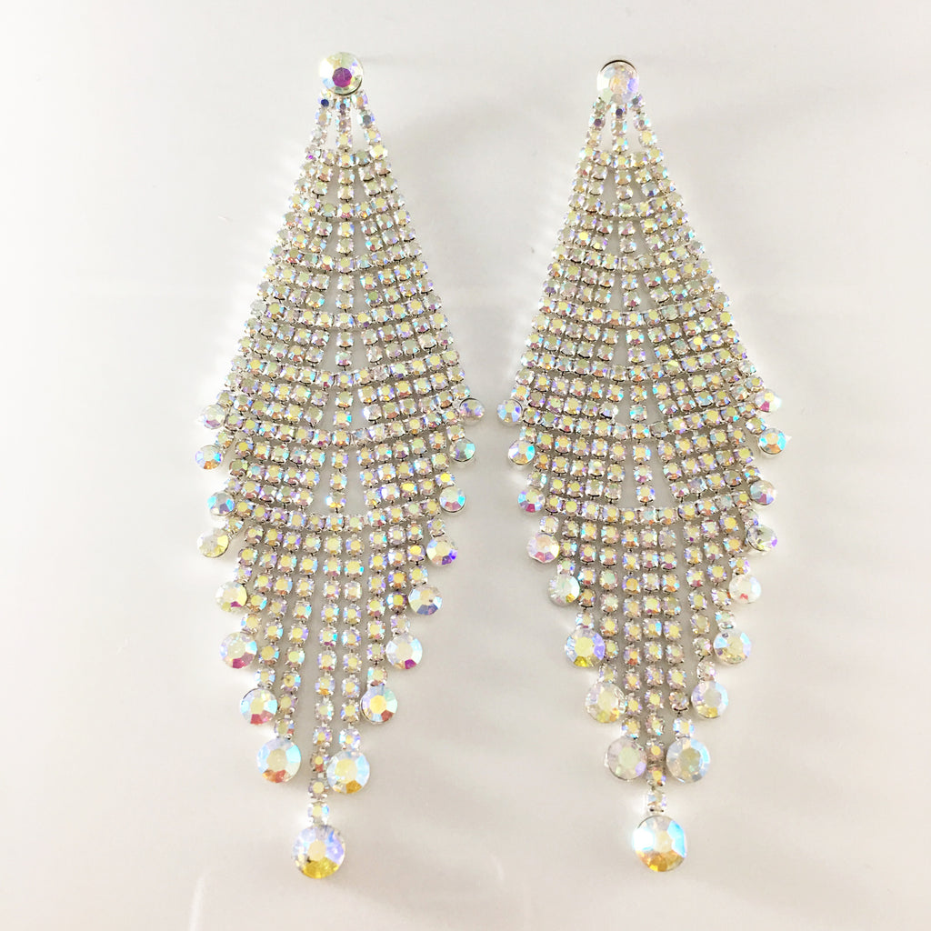 """ Cutout "" AB Iridescent Chandelier Earrings on Silver Tone"