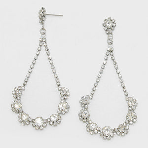 """ Night Show ""  Floral Crystal Rhinestone Teardrop Hoop Evening Earrings"