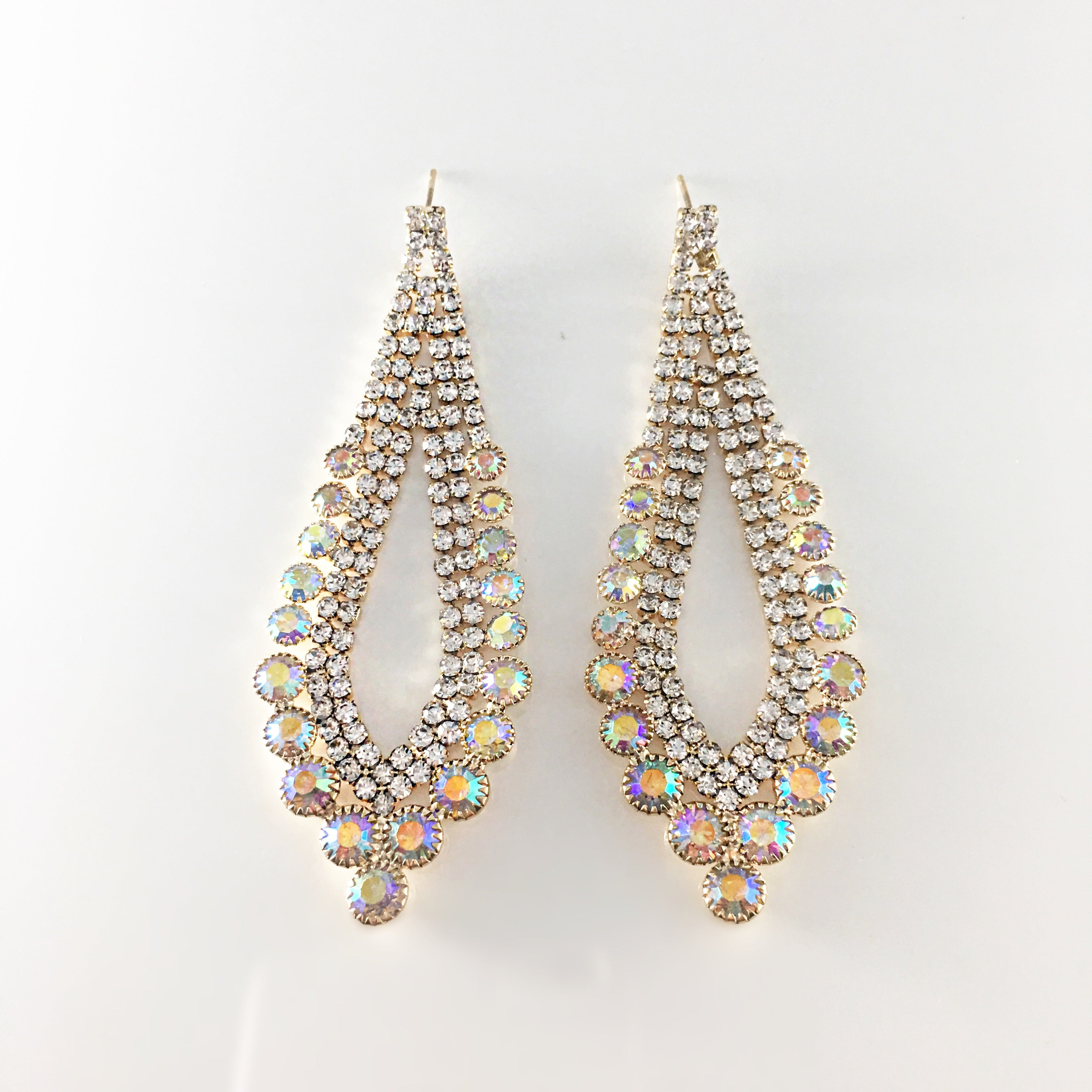 Decked out ab iridescent chandelier earrings on gold tone bling decked out ab iridescent chandelier earrings on gold tone aloadofball Image collections