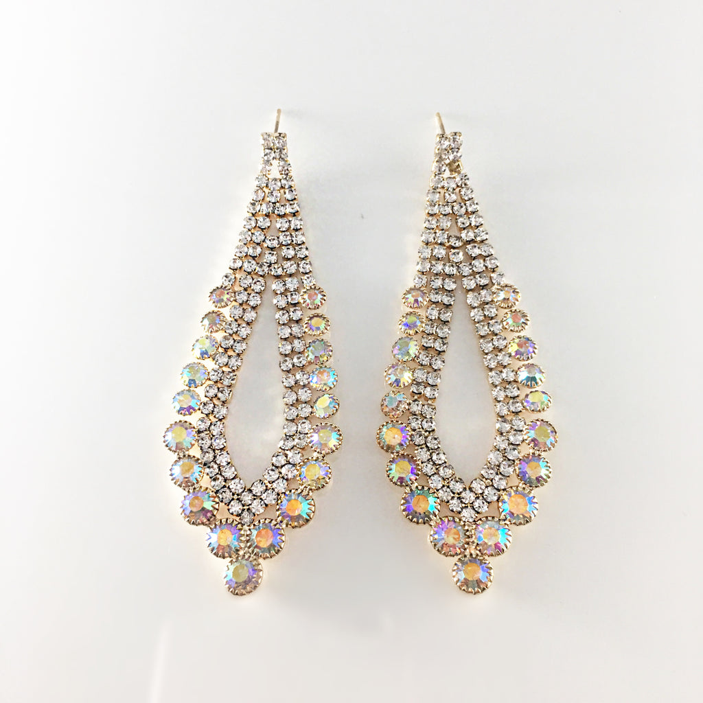 """ Decked Out "" AB Iridescent Chandelier Earrings on Gold Tone"
