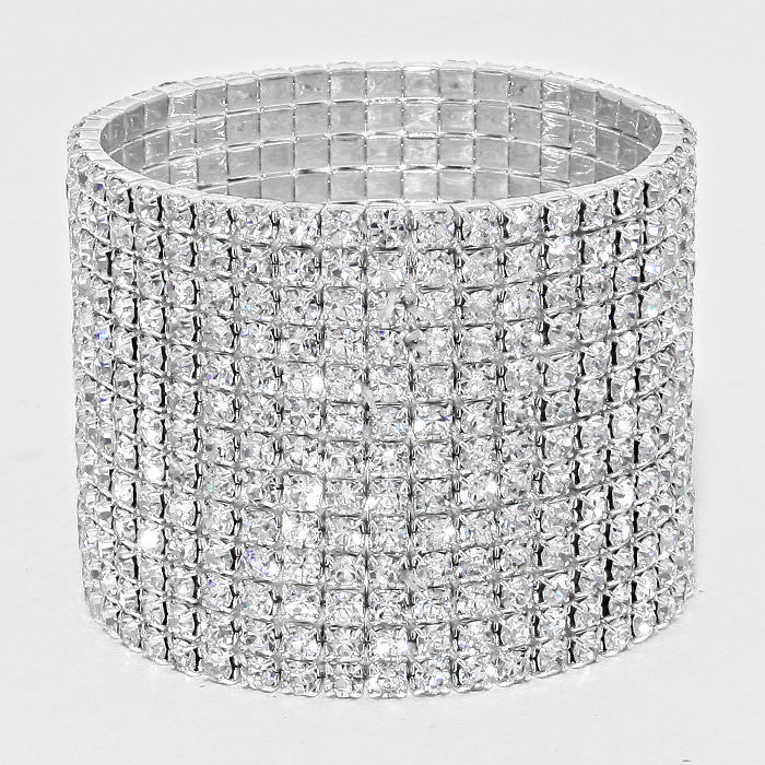 """ Line Em' Up "" 13 Line Rhinestone Stretch Bracelet"