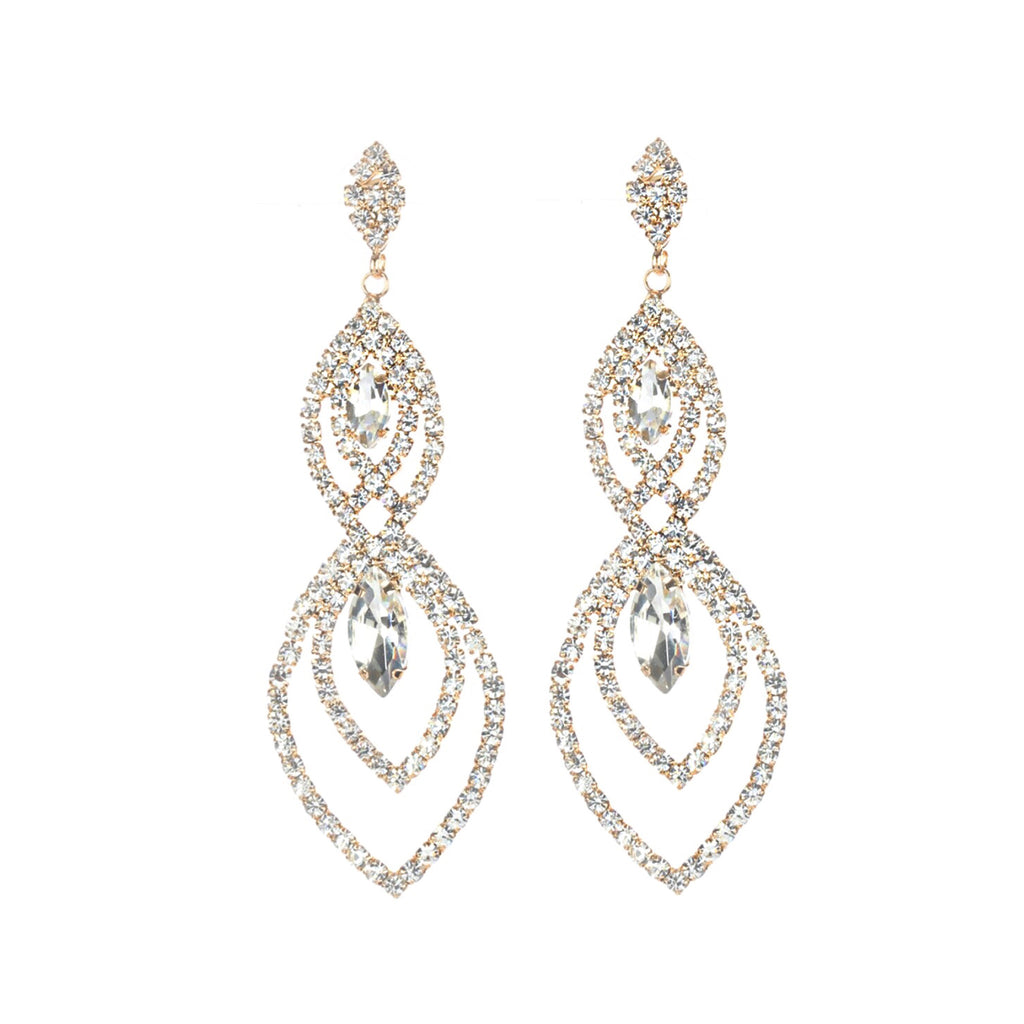 """ Glow "" Three Drop Marquee Shaped Rhinestone Chandelier Earrings on Gold Tone"