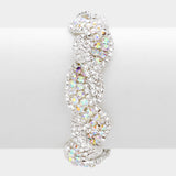 """ Slinky "" AB Iridescent Mixed with Clear Crystal Rhinestone Twist Evening Bracelet"