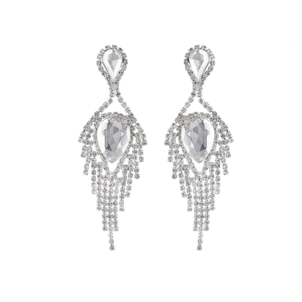 """ Angelic ""  Clear Crystal Drop Rhinestone Earrings Silver Tone"