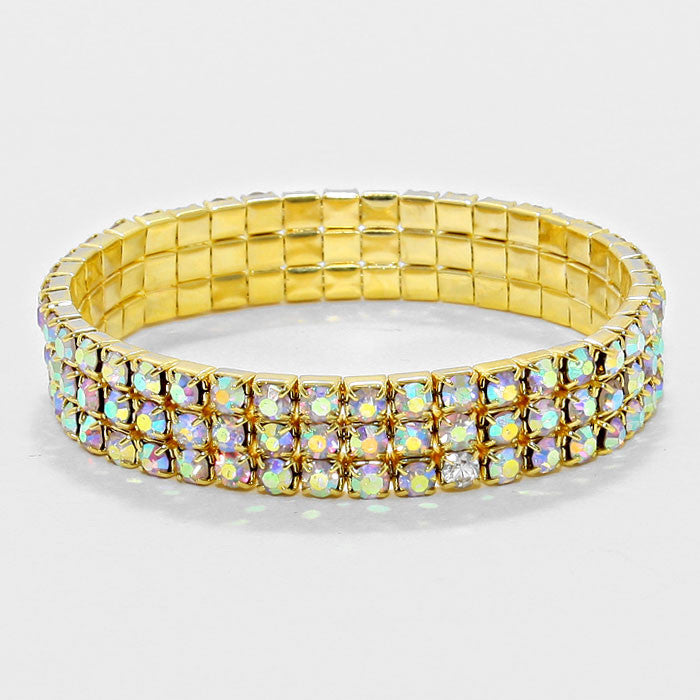 """Line Em' Up"" 3 Line  Rhinestone & Gold Tone Metal  With AB Stones Bracelet"