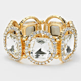 """ Just A peek ""  Cushion Cut Clear Crystal Stretch Bracelet On Gold Tone"