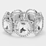 """ Just A Peek""  Cushion Cut Clear Crystal Stretch Bracelet On Silver Tone"