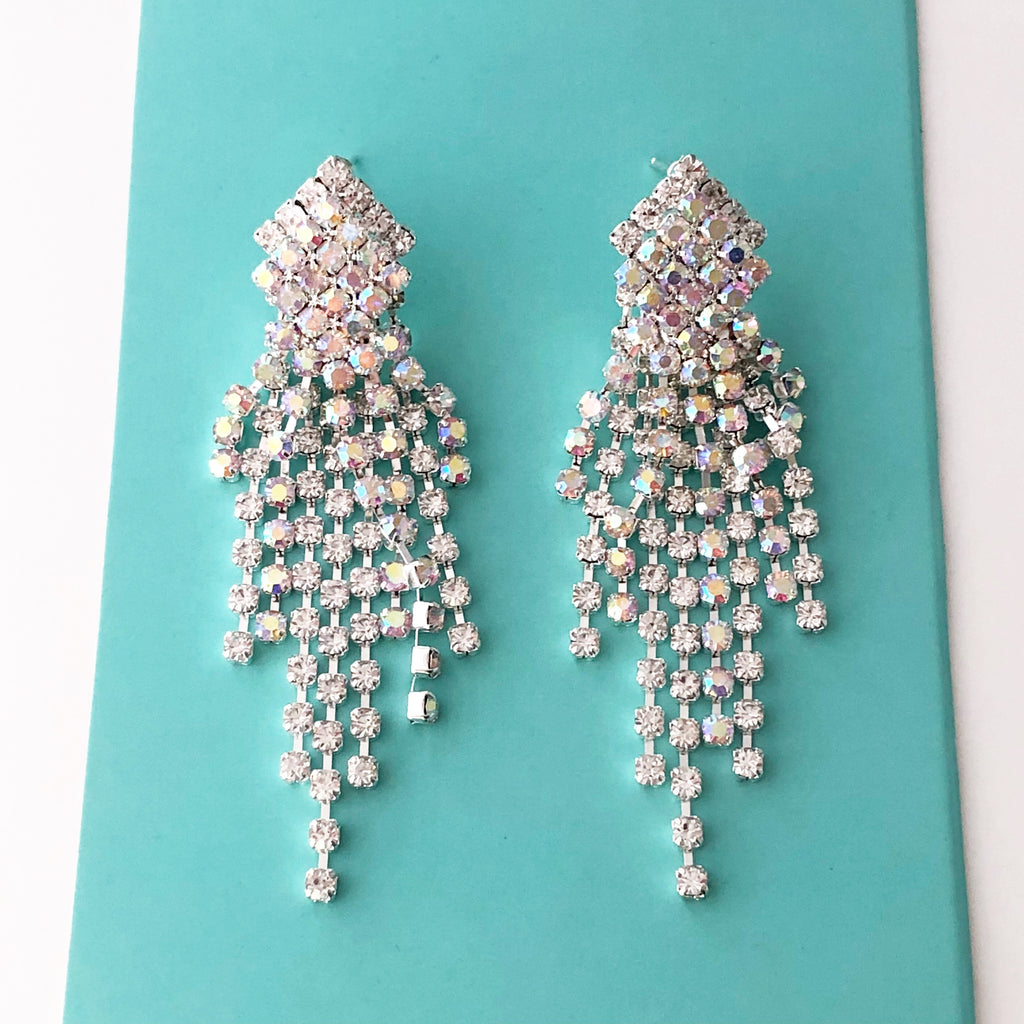 """ Burst "" AB Iridescent/Clear Rhinestone Fringe Tassel Earrings Silver Tone"